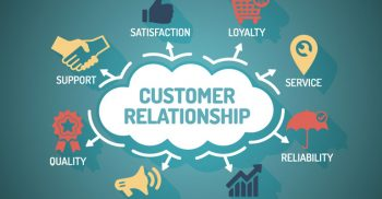 Customer Relationship - Chart with keywords and icons - Flat Design